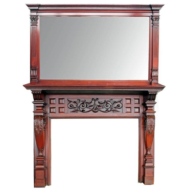 Ornate Mirrored Mahogany Double Mantel 1