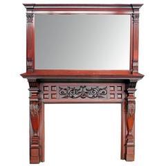 Ornate Mirrored Mahogany Double Mantel