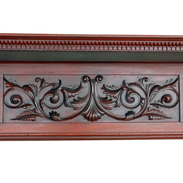 Ornate Mirrored Mahogany Double Mantel 4