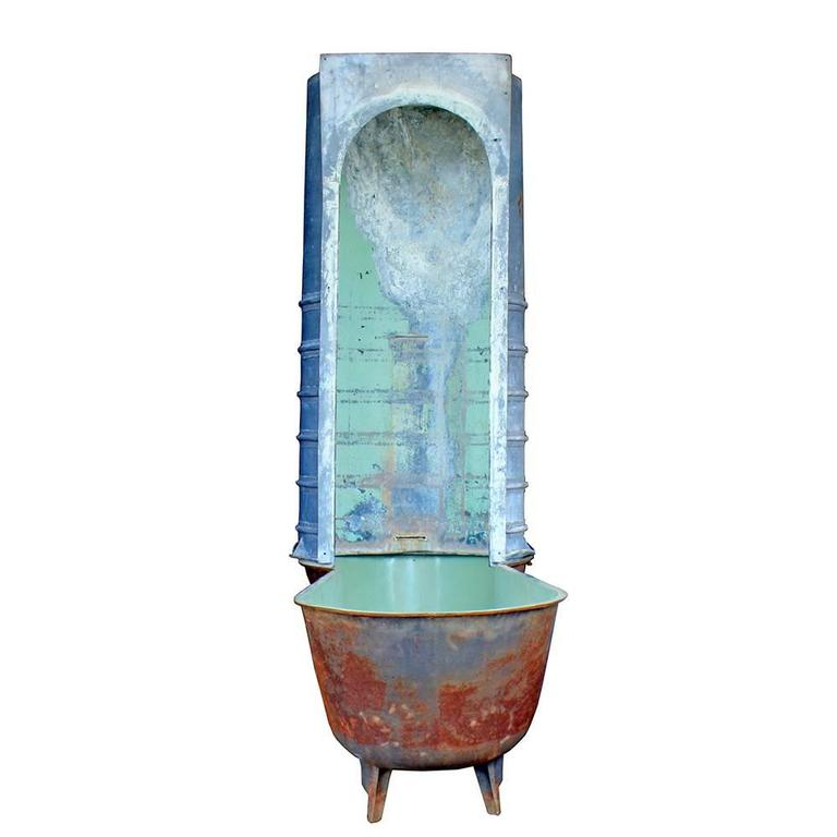 Late 19th Century Painted Copper and Tin Bath Tub For Sale at 1stdibs