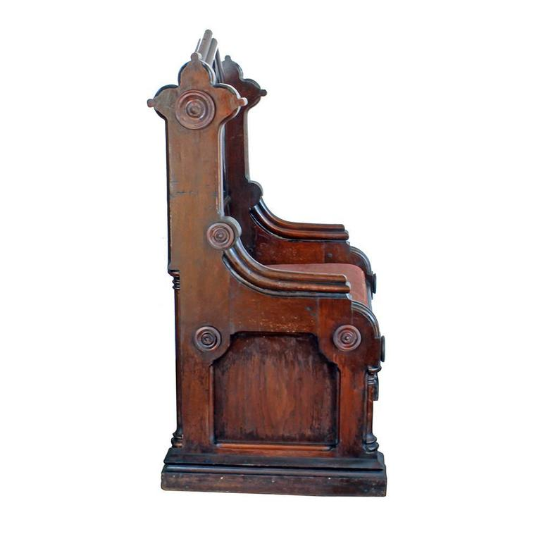 Contemplate your sins and forgive yourself at the same time in this beautiful early 20th century hand-carved bench seat. Replete with Gothic inspired accents, the generously sized bench seat provides comfort and style, with its red velvet