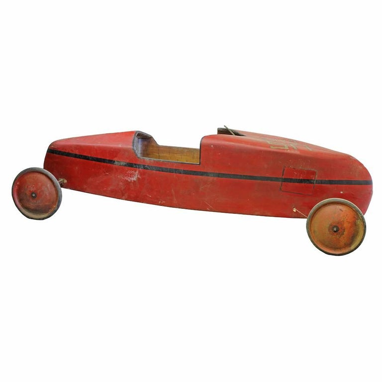 Vintage Soap Box Derby Car- Red In Fair Condition For Sale In Aurora, OR