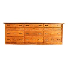 12-Drawer Oak Counter