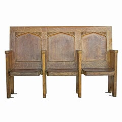 Folding Three-Seat Gothic Pew