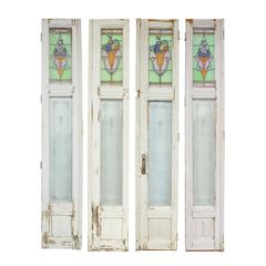 Early 20th Century Leaded and Etched Glass Divider Doors (S/4)