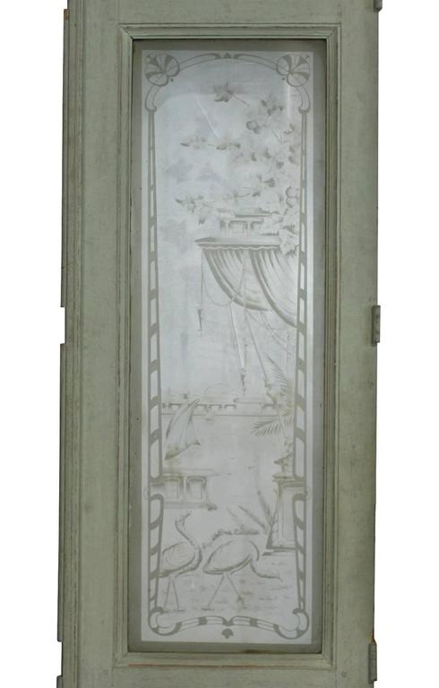 Aesthetic Movement 19th Century European Etched Glass Doors For Sale - 19th Century European Etched Glass Doors At 1stdibs