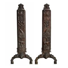 Cast Bronze Figural Relief Andirons