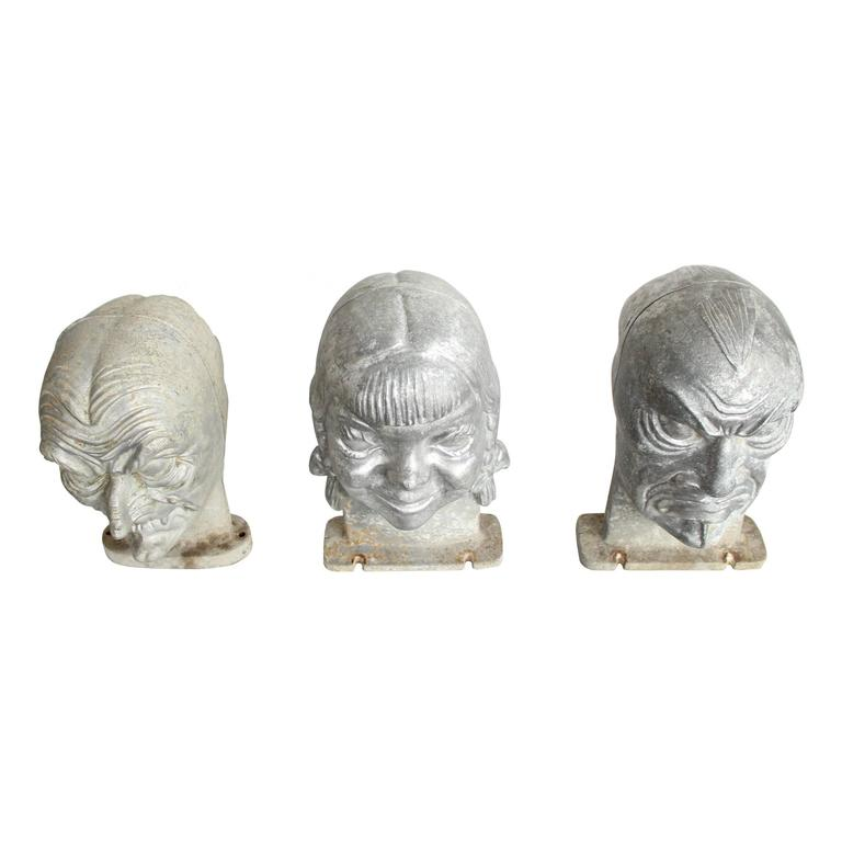 A set of three Halloween mask molds manufactured by Bayshore Industries out of Elkton, MD in 1949-1950. These cast aluminum molds are for three different characters and were most likely designed by Rudolf Mafko, VP of Bayshore and lead designer at