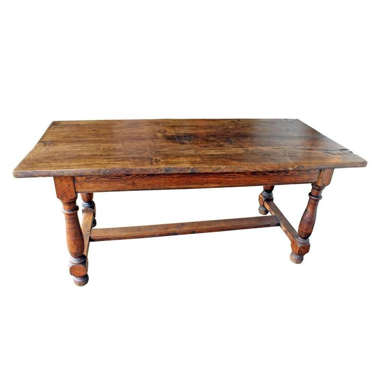 Oak Vintage French Farm Table For Sale