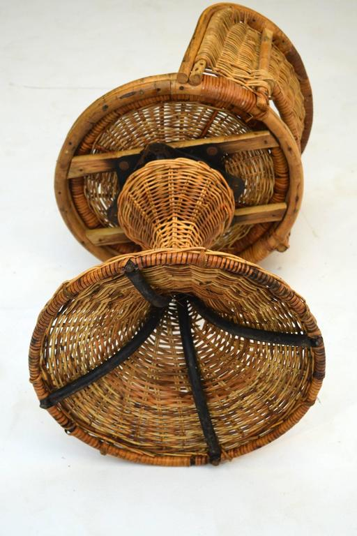 1950s Wicker Rattan Dinette With Swivel Seats For Sale At