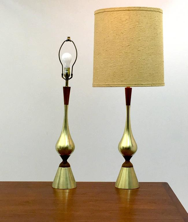 American Elegant Pair of Tall Table Lamps by Westwood Industries, circa 1955 For Sale