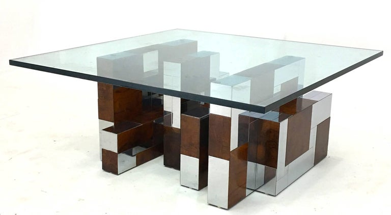 Paul Evans for Directional, PE-400 series, circa 1968 Chrome and burl walnut plates, glass The base is 30