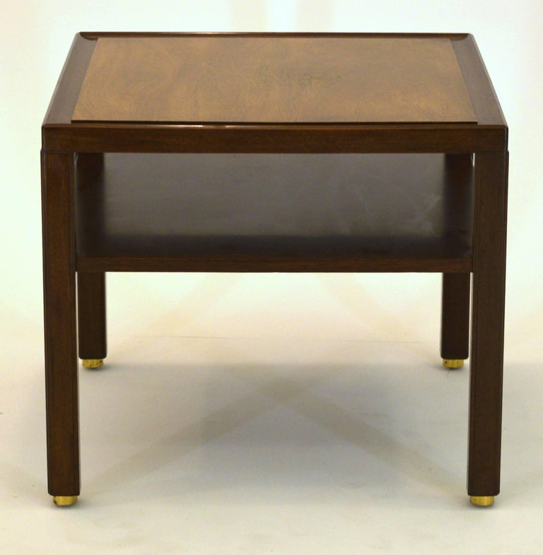 Brass Fine Two-Tone Occasional or End Table by Dunbar in Walnut For Sale