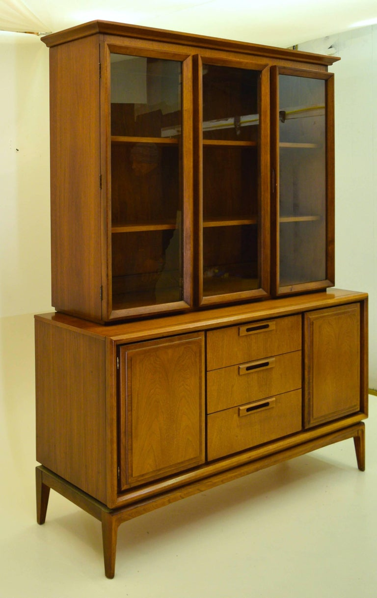 Two Piece American Walnut China Cabinet And Hutch At 1stdibs