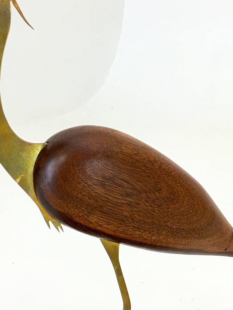 American Craftsman Crane brass and walnut table top sculpture by Bill Scott For Sale