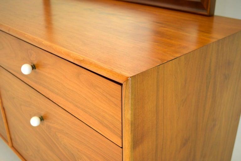American Dresser Suite and Mirror by Kipp Stewart for Drexel in Walnut For Sale