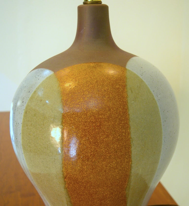 Mid-Century Modern Large David Cressey Table Lamp in Cast Stoneware with Dipped Glaze For Sale