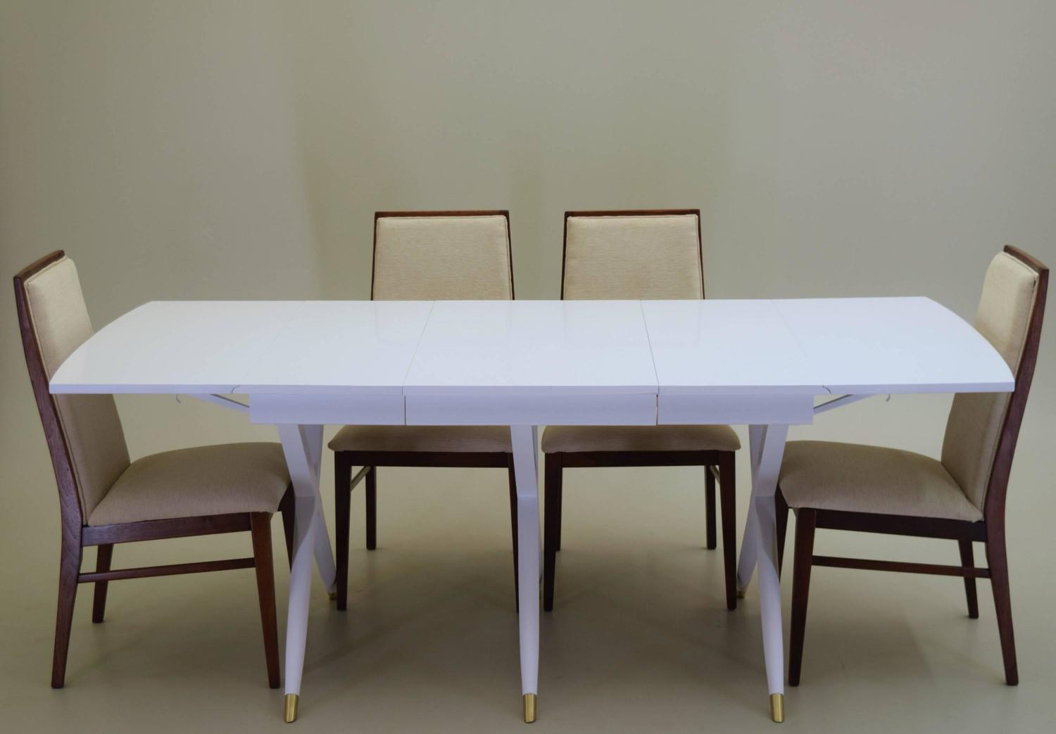 Outstanding Scissor Base Dining Table in White Lacquer with Brass Tips ...