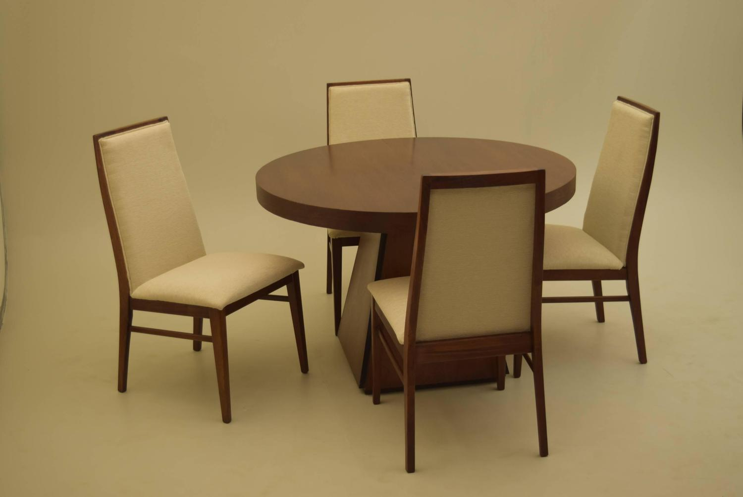 pierre cardin round obelisk dining table in walnut with