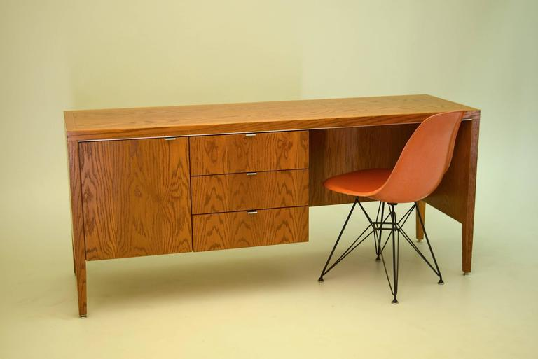 Oak And Steel Desk By Domore For Ashland Oil At 1stdibs