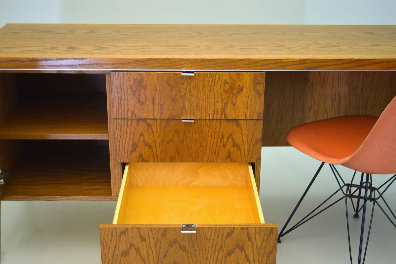 Oak And Steel Desk By Domore For Ashland Oil For Sale At