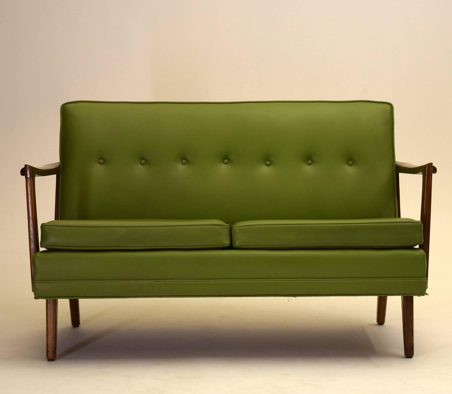 Two Danish Style Love Seat Sofas Matching Pair At 1stdibs