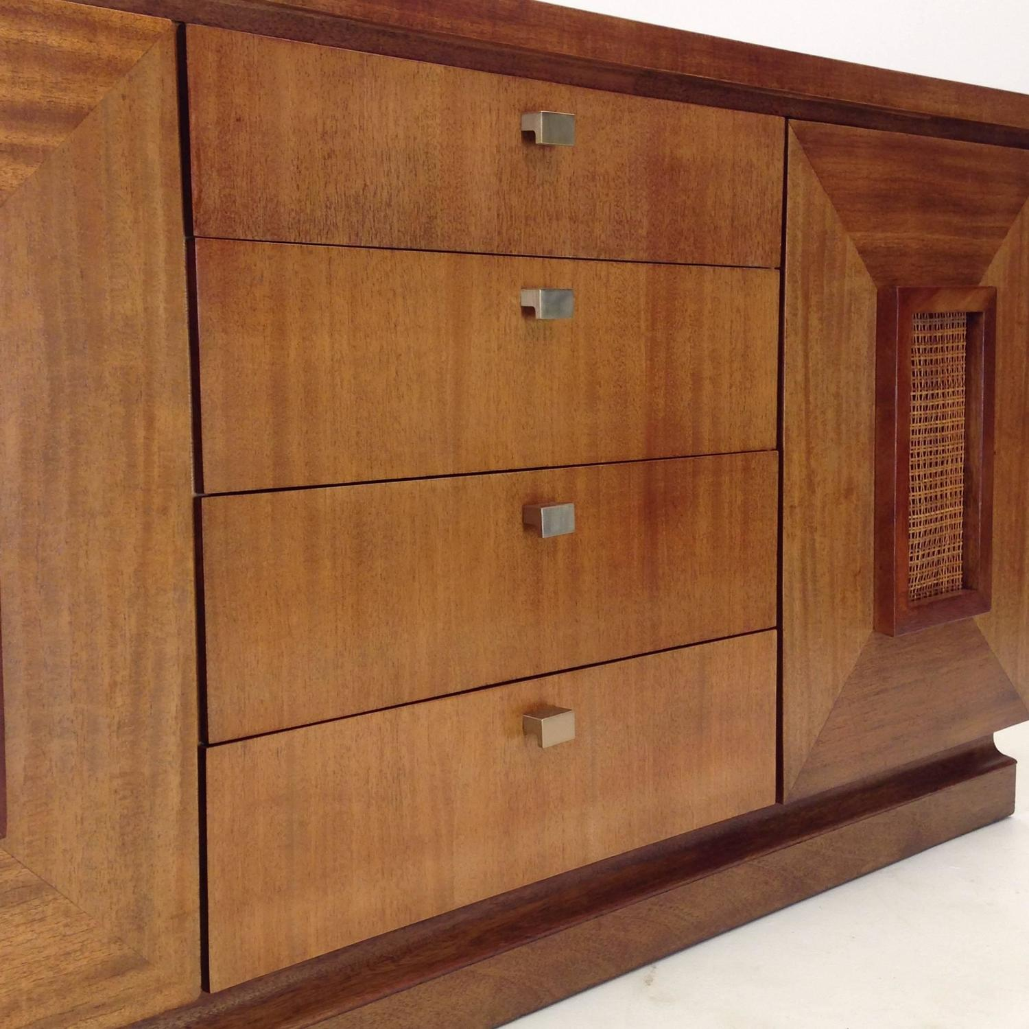 Mahogany And Rattan Sideboard By Merton L Gershun In