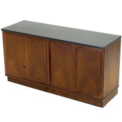 Diminutive Slate and Walnut Console Cabinet with Low Profile