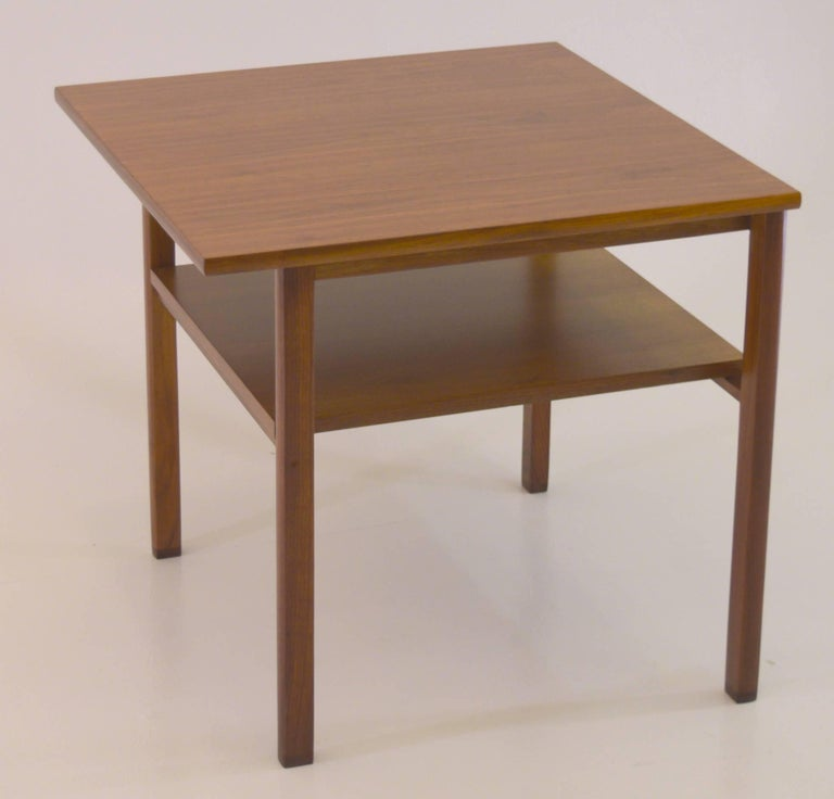 Lacquer Low Two-Tier Lamp Table by Dunbar with Cantilevered Top in Walnut For Sale