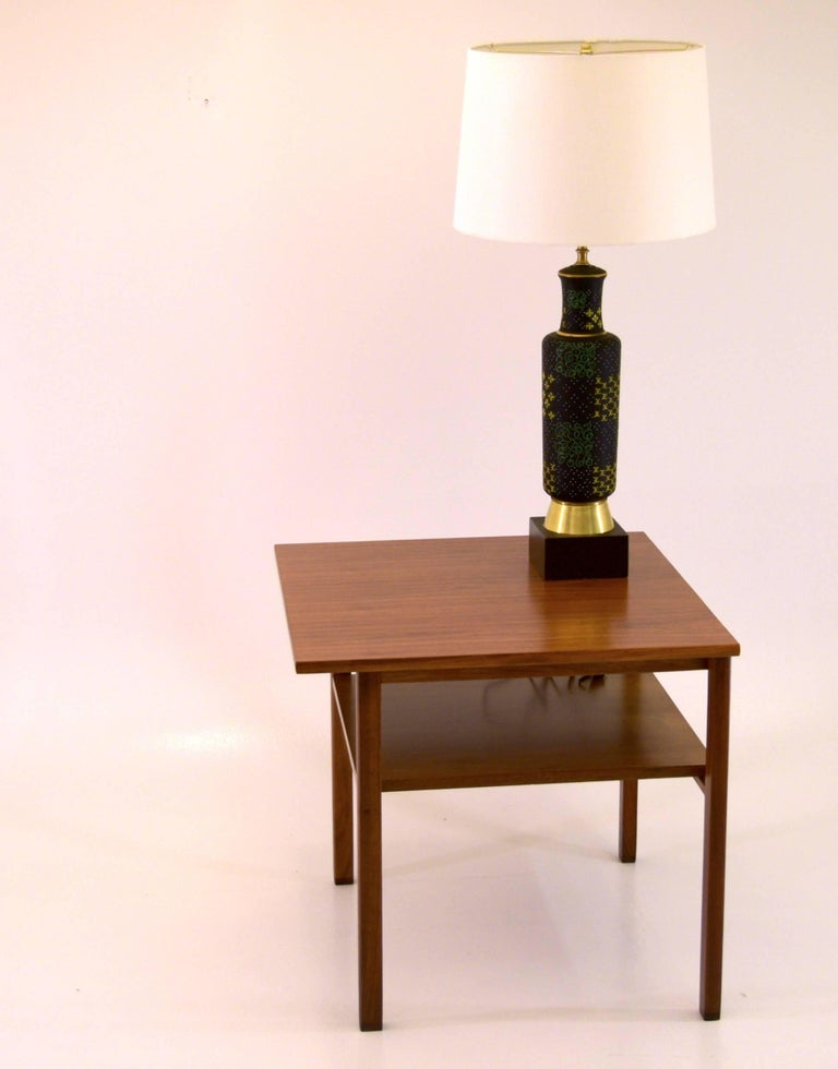 Mid-Century Modern Low Two-Tier Lamp Table by Dunbar with Cantilevered Top in Walnut For Sale