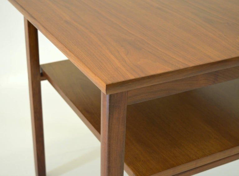 Mid-20th Century Low Two-Tier Lamp Table by Dunbar with Cantilevered Top in Walnut For Sale
