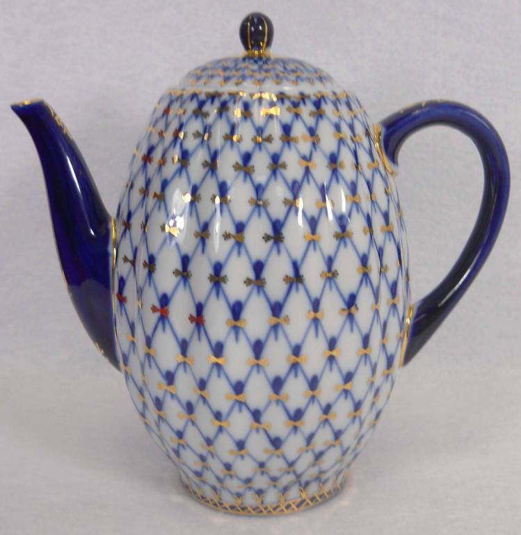 Lomonosov Imperial Russian Porcelain Cobalt Net Pattern