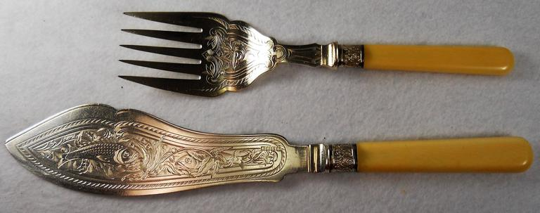 JAMES DIXON and SONS Bakelite Handle FISH KNIFE and FISH ...