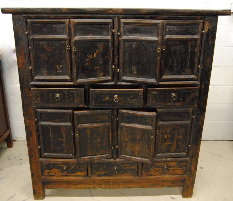 18th Century Chinese Black Elmwood Armoire Shanxi