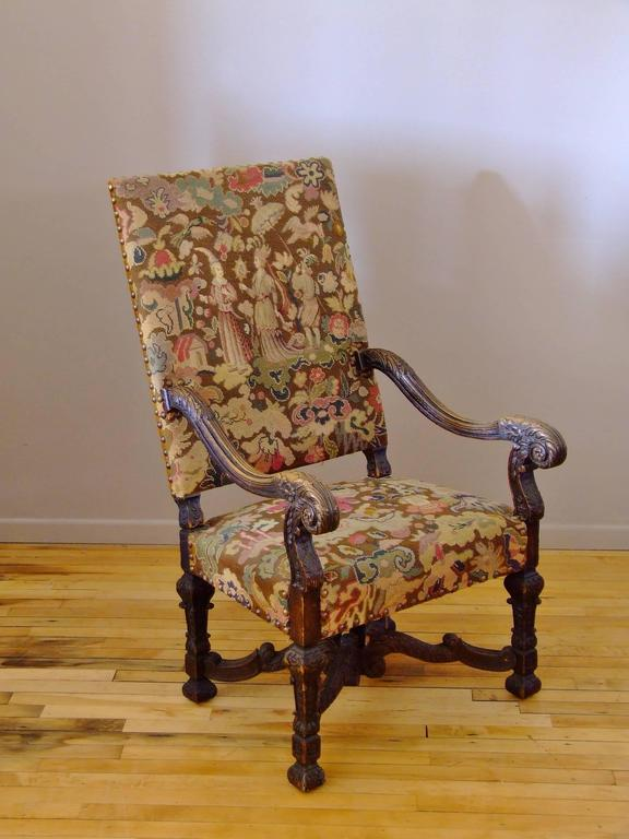 Outstanding French Needlepoint Chair With Original Needlepoint Upholstery.  The Details On The Petitpoint Are The