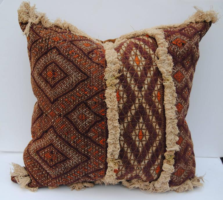 Custom Pillow Cut From An Antique Hand Loomed Wool