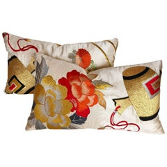 Custom Pillows Cut from a Vintage Japanese Silk Uchikake Wedding Kimono