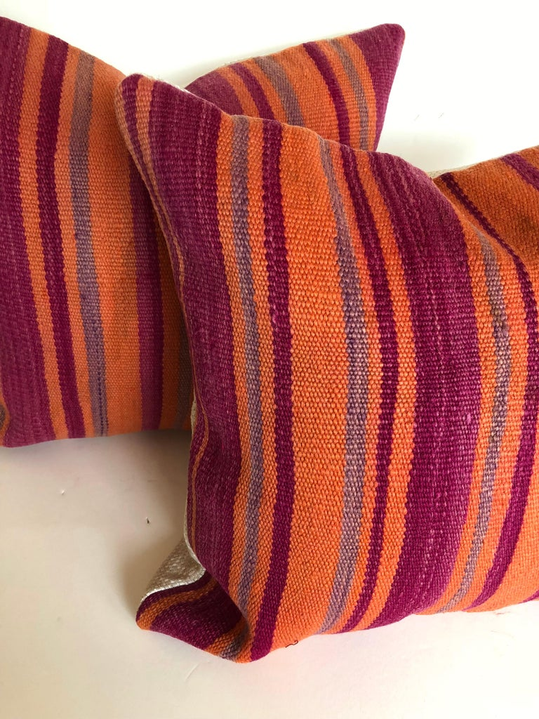 Mid-Century Modern Custom Pillows Cut from a Vintage Moroccan Wool Berber Rug, Atlas Mountains For Sale