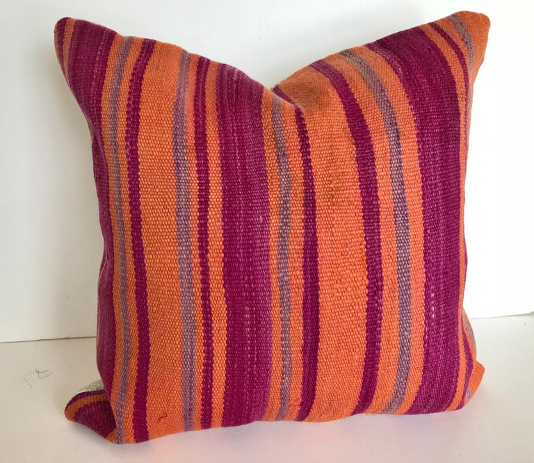 Hand-Woven Custom Pillows Cut from a Vintage Moroccan Wool Berber Rug, Atlas Mountains For Sale