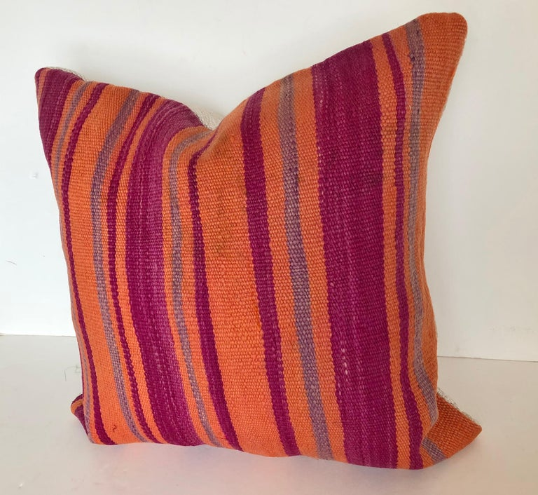 Custom Pillows Cut from a Vintage Moroccan Wool Berber Rug, Atlas Mountains In Good Condition For Sale In Glen Ellyn, IL