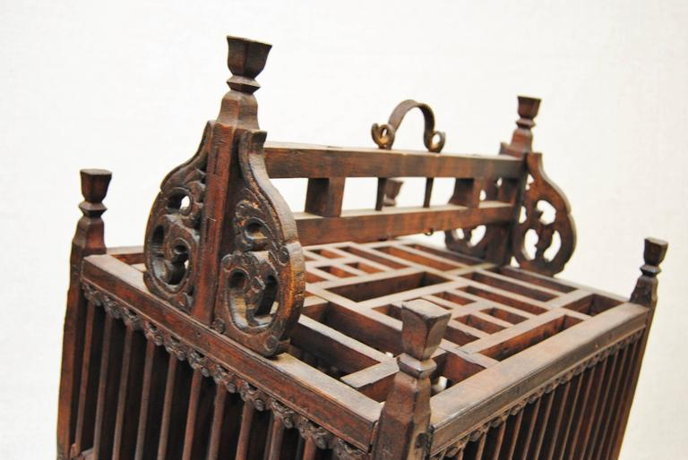 Antique Chinese Hand-Carved Bird Cage for Wedding Gift, circa 1850 9