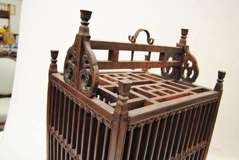 Antique Chinese Hand-Carved Bird Cage for Wedding Gift, circa 1850 3