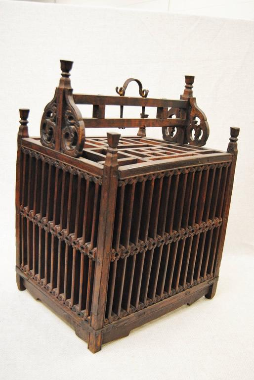 Antique Chinese Hand-Carved Bird Cage for Wedding Gift, circa 1850 2