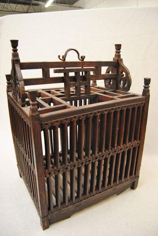 Antique Chinese Hand-Carved Bird Cage for Wedding Gift, circa 1850 4