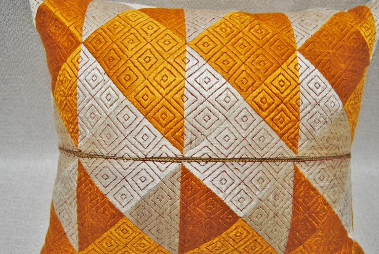indian antique french cushions. Indian Phulkari Bagh Silk Embroidered Wedding Shawl Pillow, Punjab, India For Sale Antique French Cushions