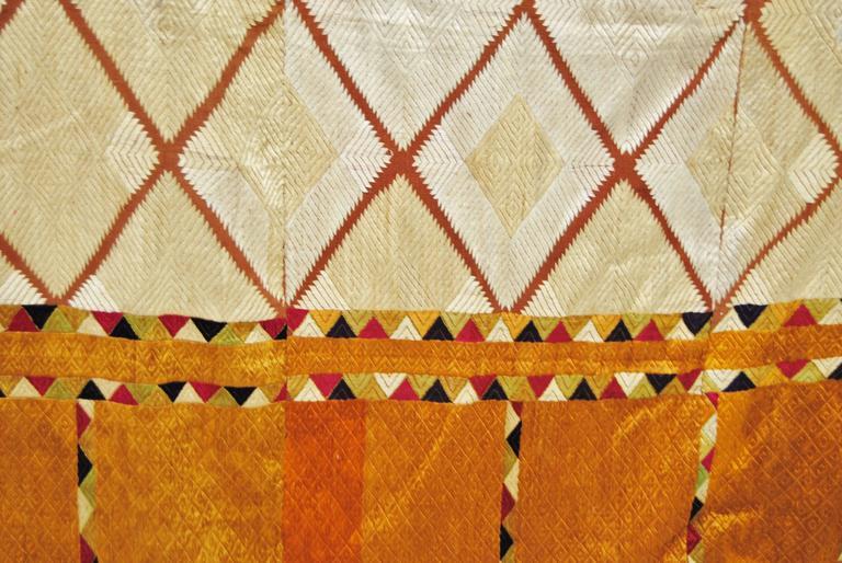 Tribal Silk Embroidered Chandi Phulkari Bagh Wedding Shawl from Punjab, India For Sale