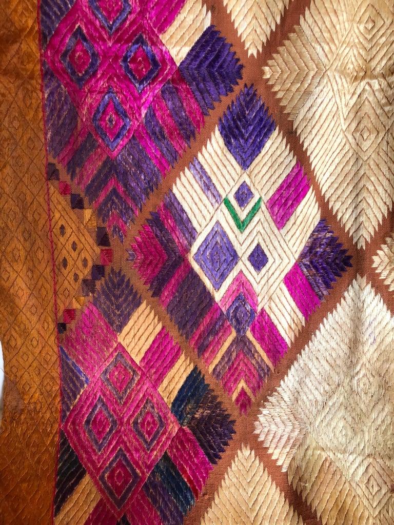 20th Century Silk Embroidered Chandi Phulkari Bagh Wedding Shawl from Punjab, India For Sale