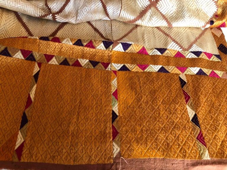 Cotton Silk Embroidered Chandi Phulkari Bagh Wedding Shawl from Punjab, India For Sale