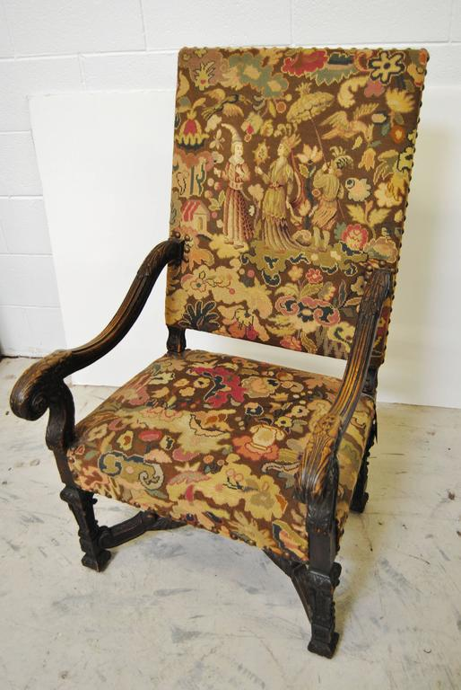 antique french chair with original needlepoint upholstery for sale at 1stdibs. Black Bedroom Furniture Sets. Home Design Ideas