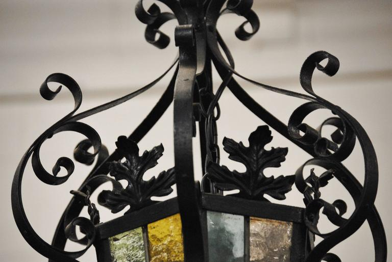 Antique French Stained Glass Iron Lantern In Good Condition For Sale In Glen Ellyn, IL